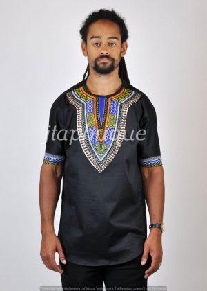 Black Dashiki Print Shirt