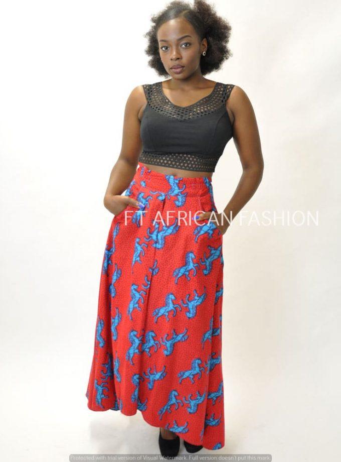 African Print High Waist Maxi Skirt. SKU: 2467