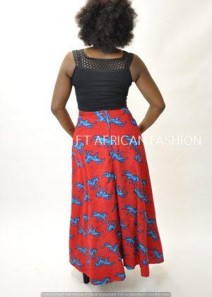 African Print High Waist Maxi Skirt. SKU: 2467 Back Image
