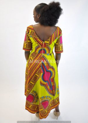Lime & Dashiki Dipped Hem Midi Dress Back Image