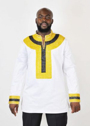 Mens African style white polished Cotton shirt with black and gold embroidery detail on mandarin slit neckline, front, cuffs and back.