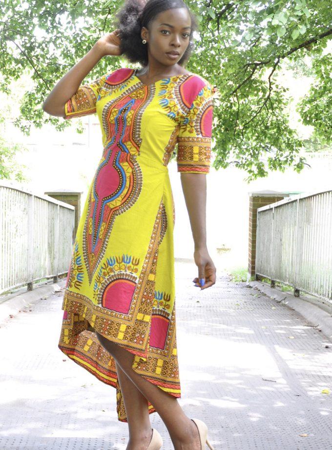 Lime & Dashiki Dipped Hem Midi Dress