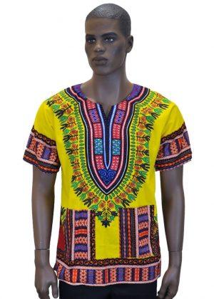 Unisex Dashiki Shirt Front Yellow