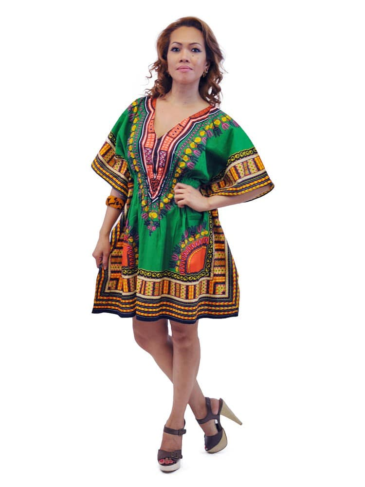 37d8b06094ac Green African Dashiki Mini Dress - African Clothing Store