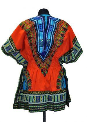 African Dashiki Mini Dress Orange Back