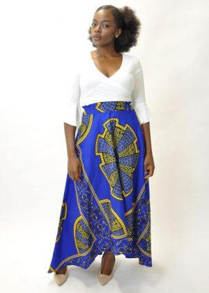 Ankara Blue & Gold Maxi Skirt Product Image