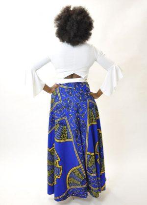 Ankara Blue & Gold Maxi Skirt Product Back Image