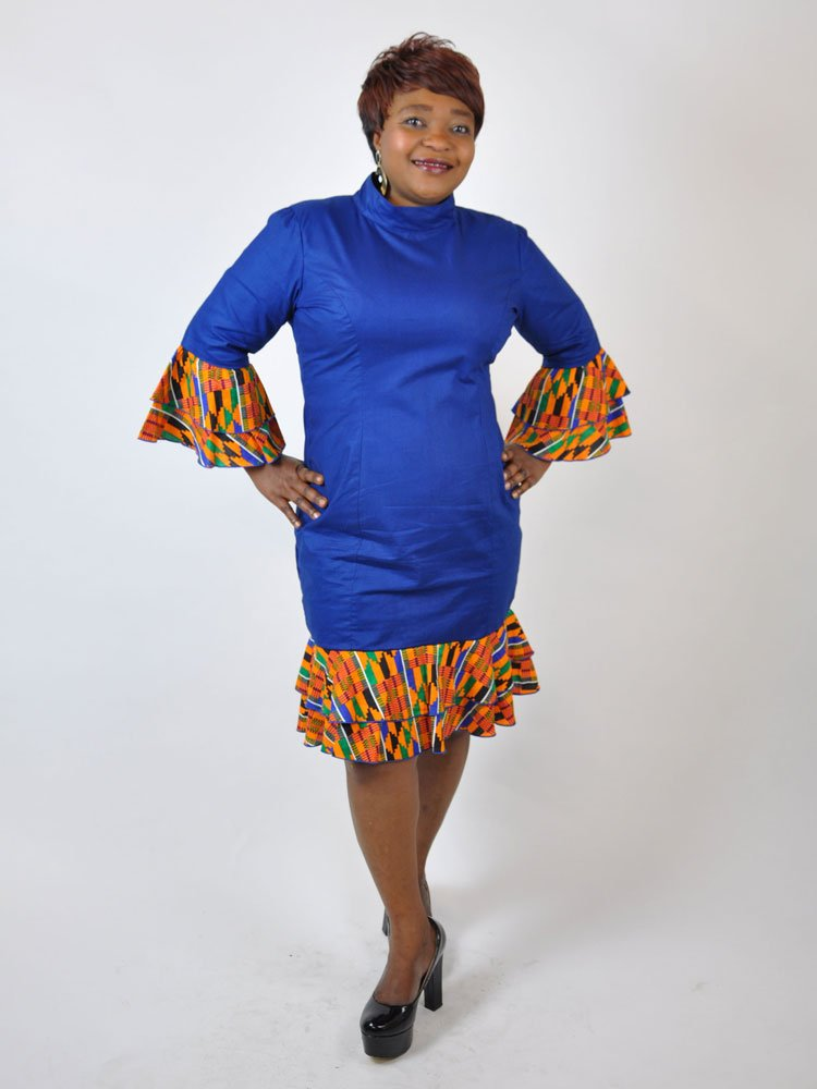 Blue Polish Cotton And Kent Dress African Clothing Store