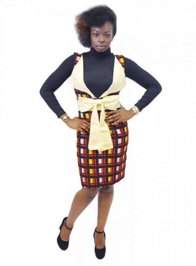 Sleeveless Plunge Neck Sash Bow Pencil Dress