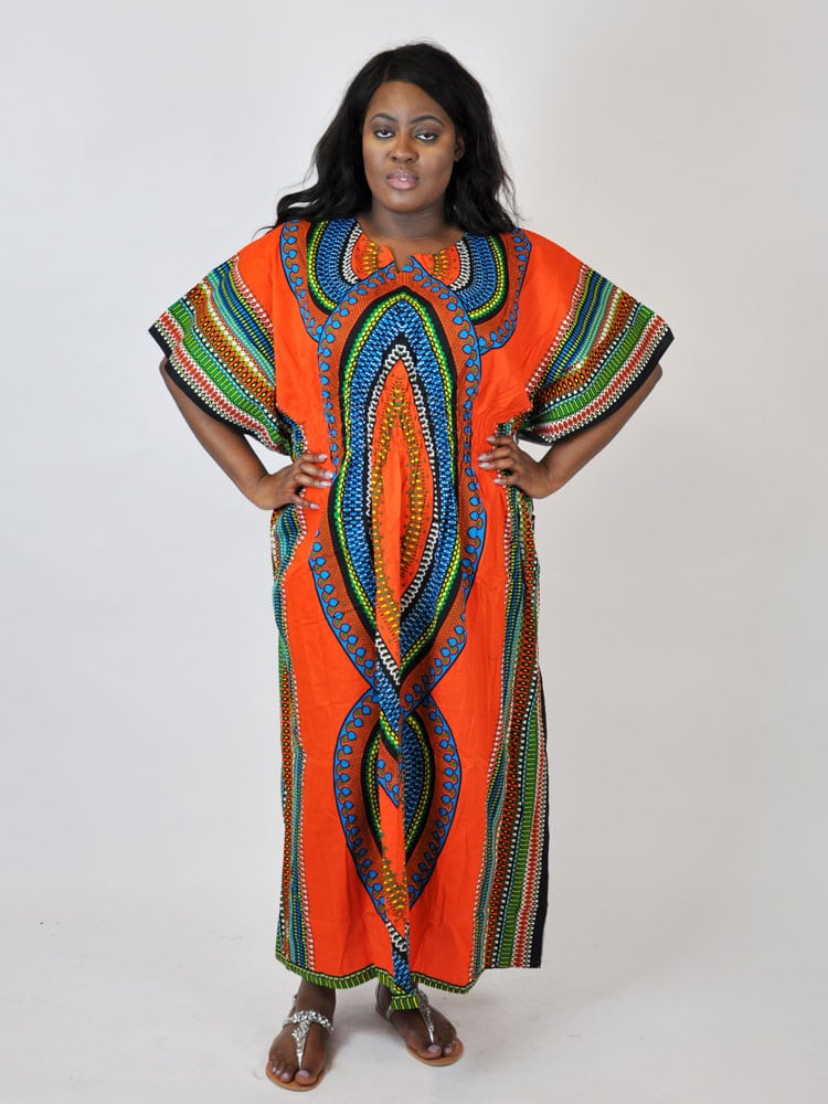 Orange Dashiki African Kaftan - African Clothing Store