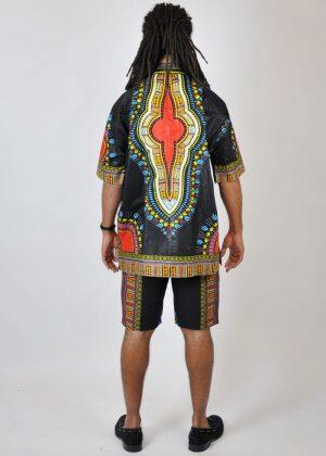 black African Dashiki Matching Short Pants Set Co-ord Back Image