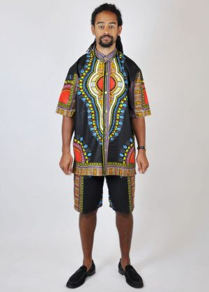 black African Dashiki Matching Short Pants Set Co-ord from African Clothing Store. SKU: 2654
