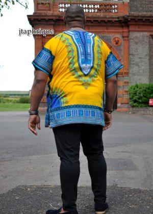 Men's Yellow African Dashiki Shirt Back Image