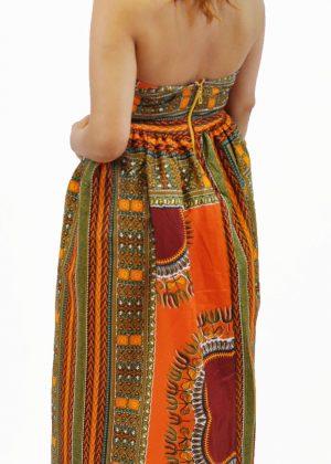 Deep Orange African Dashiki Dress Back Image