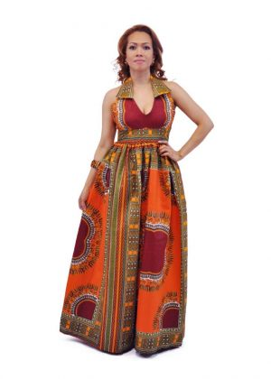 Deep Orange African Dashiki Dress