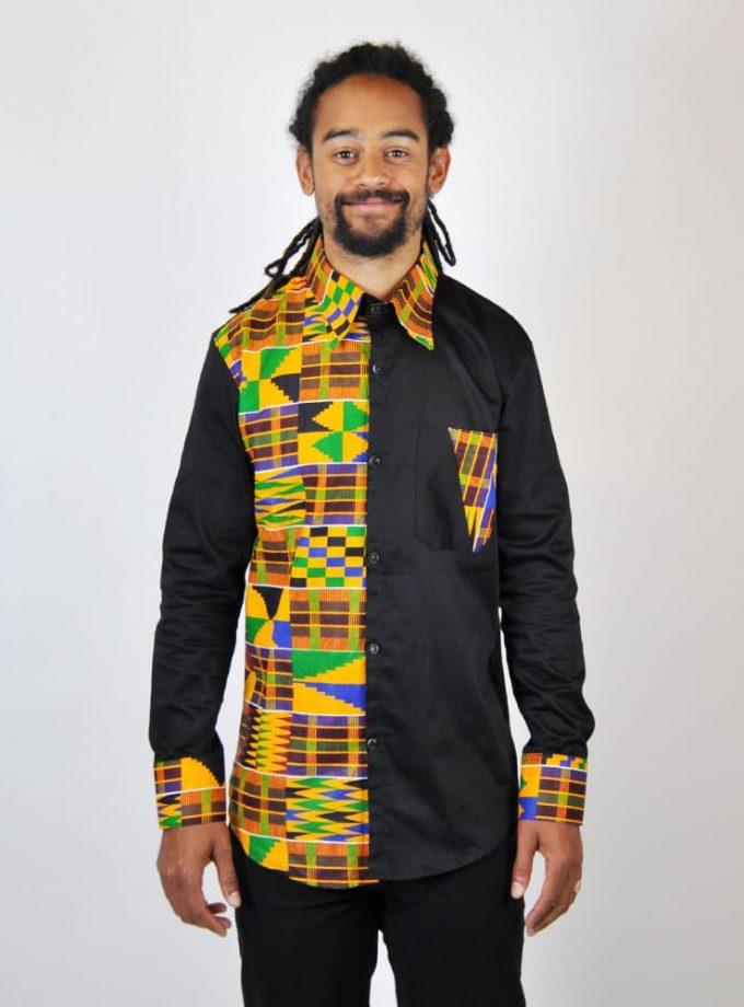 Black Kente Fusion Shirt