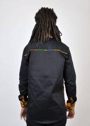 Black Kente Fusion Shirt Back Image
