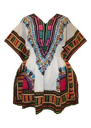 African Dashiki Mini Dress White & Multi-coloured Product Image