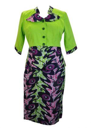 Lime Ankara Skirt Suit