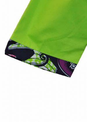 Lime Ankara Skirt Suit Close Image Sleeve