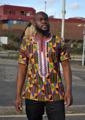 Multicoloured Versatile Occasion Kente African Print Shirt