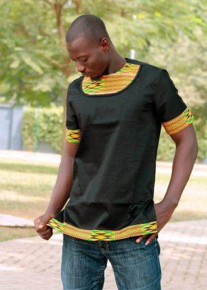 Black Polished Cotton & African Print Short Sleeve Shirt