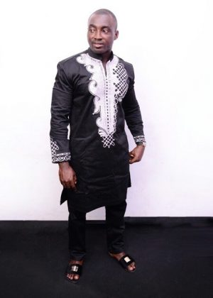 Full frontal of model wearing our African embroidered suit inspired by Black Panther Wakanda Forever..