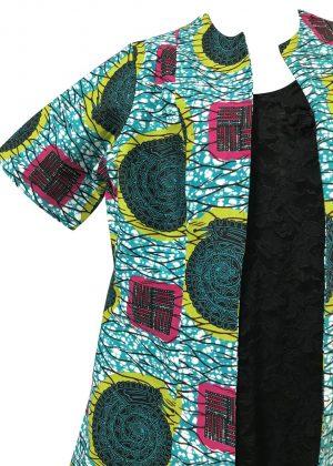 Open Front Teal Ankara Jacket Closeup Image