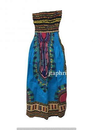 Convertible Dashiki Midi Dress or Maxi Skirt in Turquoise Blue