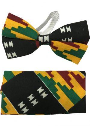 Kente African Print Bow Tie & Handkerchief Set