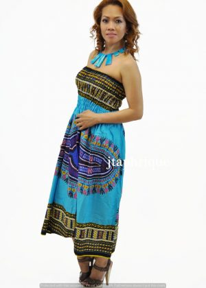 Convertible Dashiki Midi Dress or Maxi Skirt from African Clothing Store. SKU: 4603. Colourful African print midi strapless dress which converts to a maxi skirt. Multiway dress in dashiki print which is versatile because of the stretchy top which converts to a waistband.
