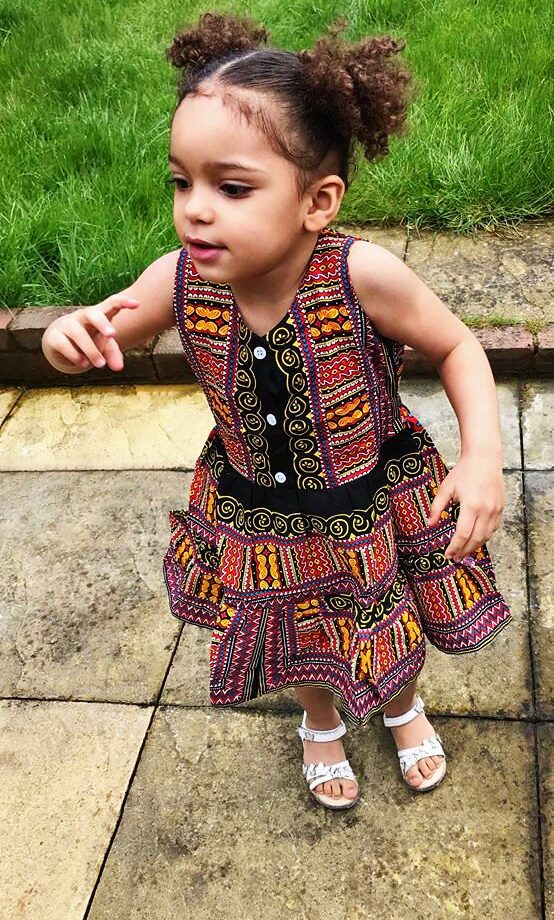 Plum Pink & Black Dashiki Summer Party Dress Size 3-4 years