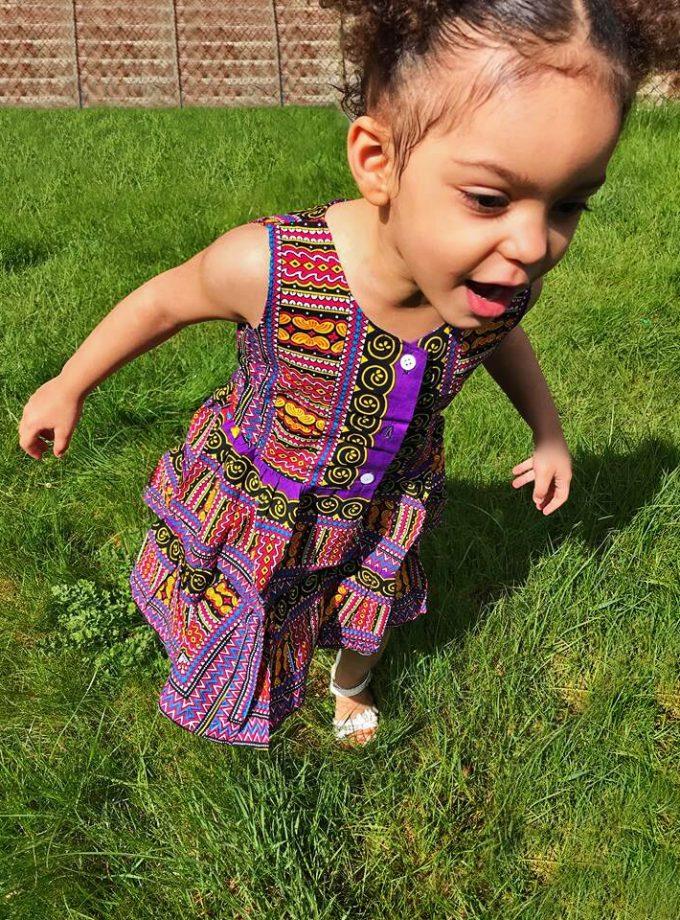Purple Dashiki Summer Party Dress Size 3-4 years