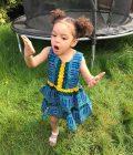 Blue & Yellow Dashiki Summer Party Dress Size 3-4 years
