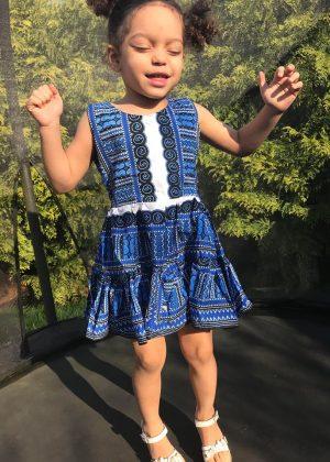 Blue & White Dashiki Summer Party Dress Size 3-4 years