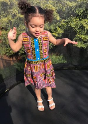 Pink & Blue Dashiki Summer Party Dress Size 3-4 years Image of Front