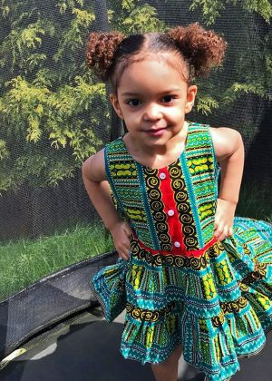 Turquoise Dashiki Summer Party Dress Size 3-4 years