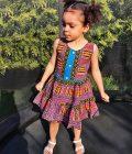 Pink & Blue Dashiki Summer Party Dress Size 3-4 years