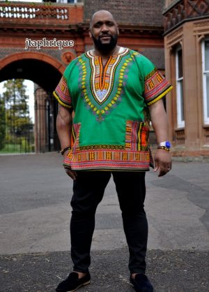 Men's Green African Dashiki Shirt from African Clothing Store.