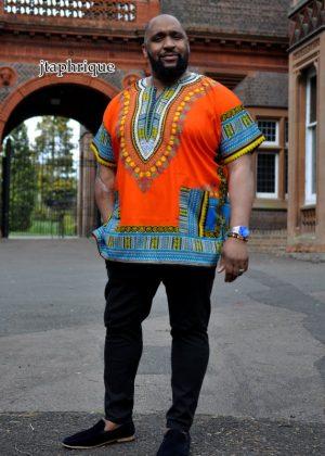 Men's Orange African Dashiki Shirt from African Clothing Store. SKU: 18082
