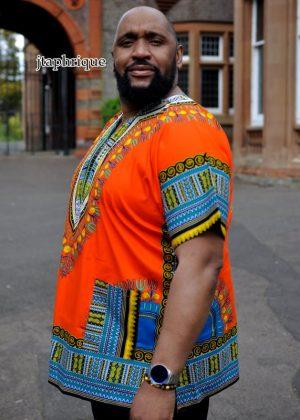 Men's Orange African Dashiki Shirt Side Image