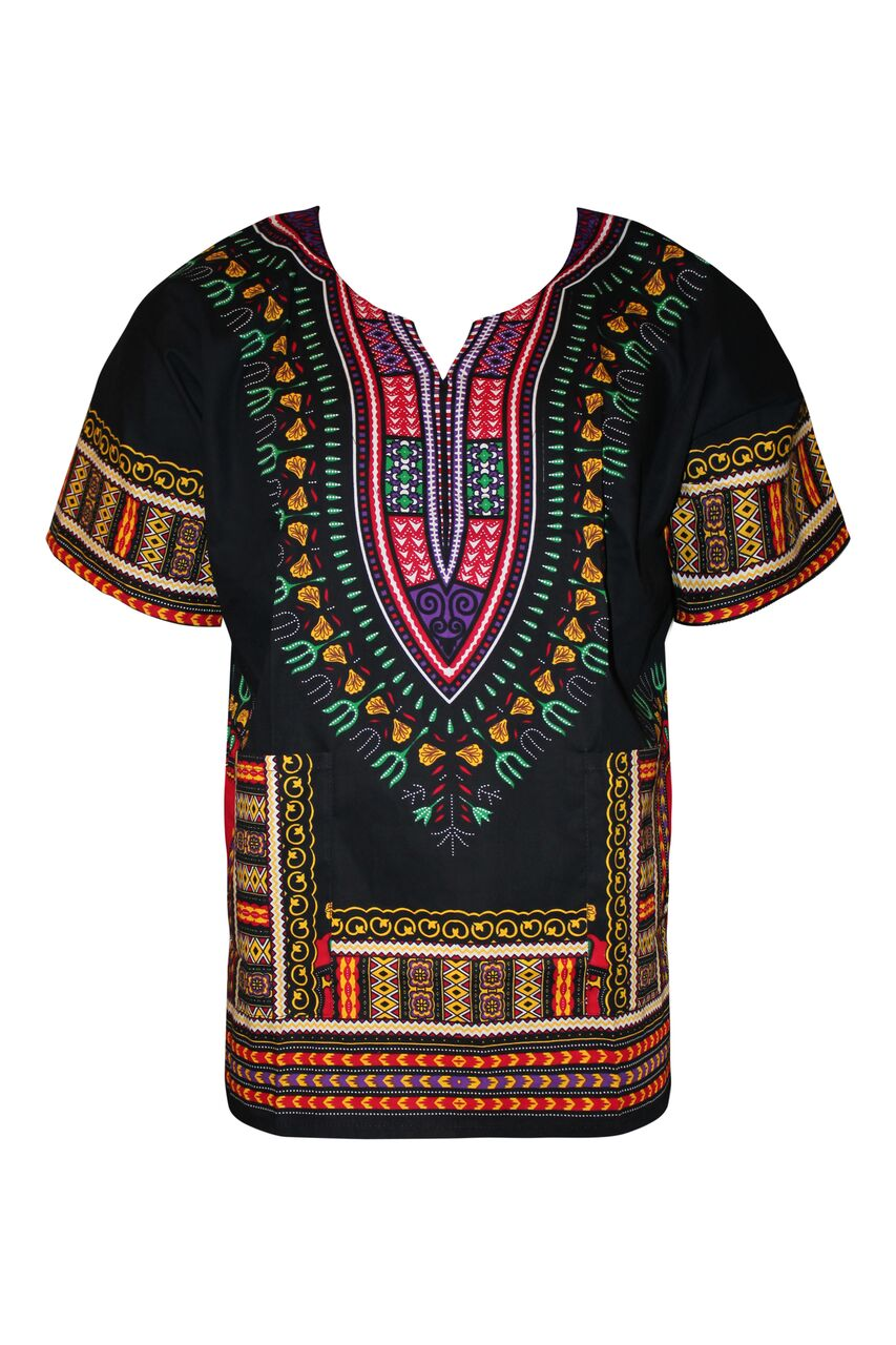 Unisex Dashiki Shirt Front Black