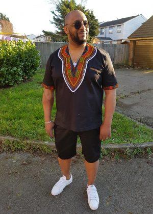 Black African Dashiki Shirt & Short Pants Set from African Clothing Store. SKU: 7080