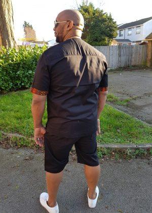 Black African Dashiki Shirt & Short Pants Set Back Image
