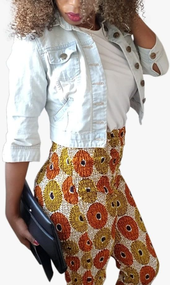 Subra African Print High Waisted Stretch Skinny Trousers