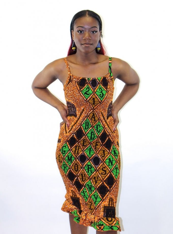 African Print Strappy Bodycon Dress