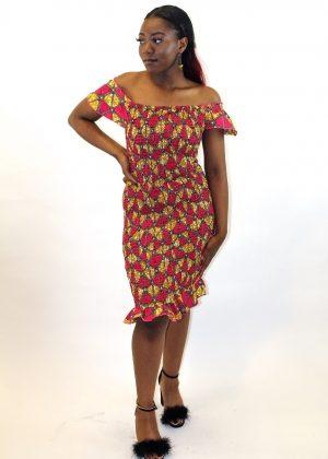 Bardot Bodycon African Print Dress