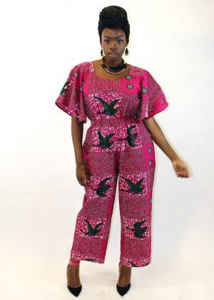Pink African Print Wide Leg Jumpsuit