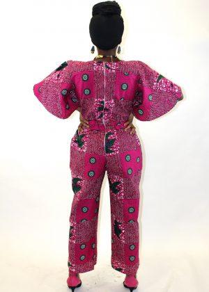 Pink African Print Wide Leg Jumpsuit Back Image