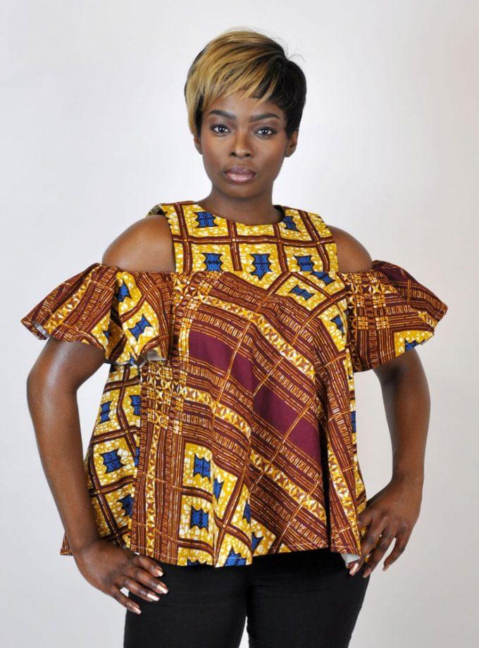 Gold African Print Cold Shoulder Flare Top